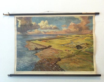 Dramatic Landscape Vintage School Chart - Northern Coast Land - Clouds, Ships, Farm - TeNeuss Publishing Germany