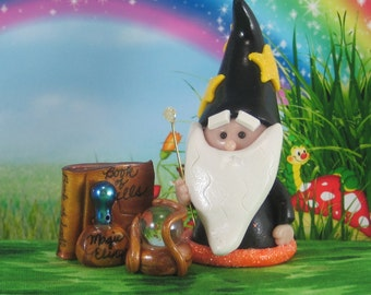 Wizard Gnome for Fairy Garden with magical tools OOAK handmade miniature