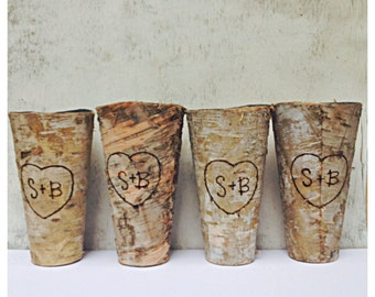Birch Bark Wedding Centerpiece Tin Personalized with Initials or Wedding Date