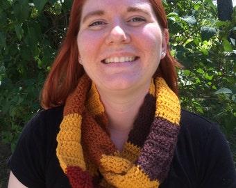 Crochet Infinity Scarf, Autumn Stripes