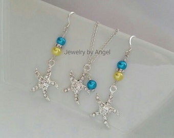 Custom Color Starfish Necklace Earring Set  Rhinestone Starfish Jewelry Bridal Jewelry Bridal Shower Gift Bridesmaid Set