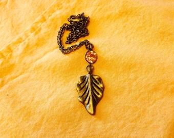 Antiqued Brass Leaf Necklace