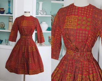 1950s Cotton Dress / Vintage 50s 60s Red and Gold Geometric Tribal Moroccan Tile Paisley Quilt Print Cotton Day Dress / Mid Century - S