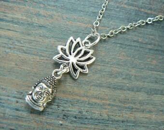 spiritual pendant necklace lotus flower necklace buddah necklace buddha  in yoga new age meditation zen hipster boho gypsy hippie style