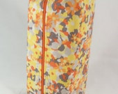 Yellow, Orange, and Grey Floral with Chevron Lining Long Zippered Box Tote - knitting / crochet / spinning / drop spindle project bag