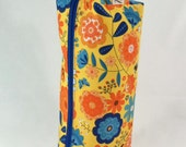 Bright Summer Flowers with Blue Lining Long Zippered Box Tote - knitting / crochet / spinning / drop spindle project bag