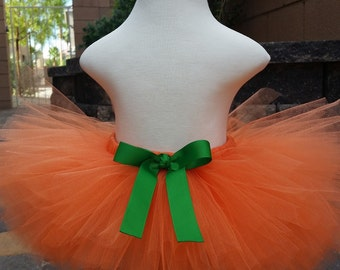 Pumpkin Halloween Tutu - Orange and green Tutu with Bow