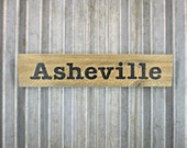Asheville Sign in Smokey Black -  Rustic Wooden City Sign - Reclaimed Wood City Sign