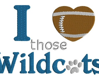 I love those Wildcats embroidery design, football embroidery design in 3 sizes, machine embroidery, team sport design