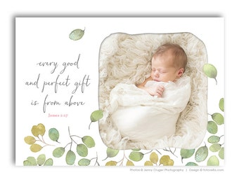 Girl Birth Announcement Template - 5x7 Flat Card - BABY EMMA - 1454