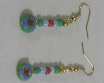 Green, Red and Pale Blue Earrings