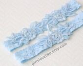 Something Blue, Light Blue Lace Wedding Garter Set, Light Blue Bridal Garter, Keesake Garter, Toss Garter