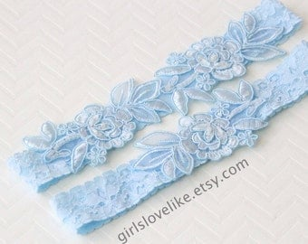 Something Blue, Light Blue Lace Wedding Garter Set, Light Blue Bridal Garter, Keesake Garter, Toss Garter