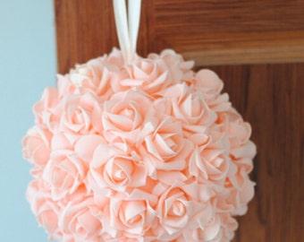 "9"" Blush Rose Kissing Ball Foam Flowers Pomanders For Wedding Centerpieces Decor Bridal Shower NJHQ-12"
