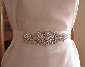 pearl beading applique, bridal sash applique ZP024