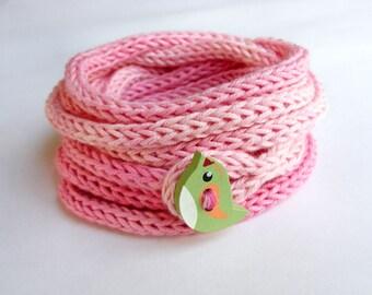 Knitted kids bracelet with wooden bird button, children's cord bracelet, girls jewelry, knit i cord bracelet, friendship, pink green