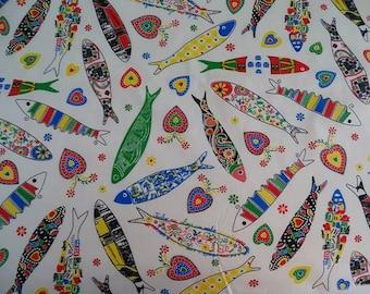 Half meter - Sardines Portuguese, portuguese fabric,