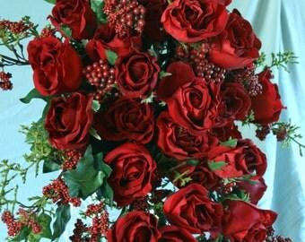 Luxurious Red Rose Cascade Bouquet