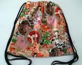 Japanese kawaii   cotton canvas drawstring backpack