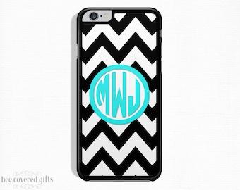 iPhone 6s Case, iPhone 6 Plus Case, iPhone 5s Case, iPhone 5c Case, Black Chevron, Monogram Gift (299)