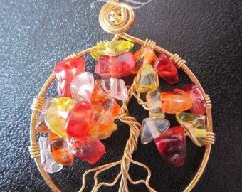 Red and yelow glass chip tree of life with suede cord necklace