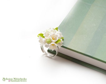Ring Lily of the valley - 2 - Polymer Clay Flowers