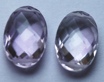 3 Matched Pair,Finest Quality,Double Drilled,Natural Pink Amethyst Faceted Oval Shaped Briolettes,8x12mm