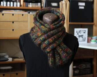 Handknit Multi-Colored Mohair Scarf – Autumn Shades, Luminescent Color