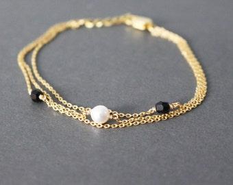 pearl crystal bracelet - minimal - layering bracelet