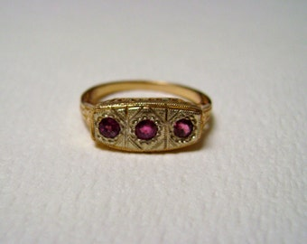 ruby and 14k gold edwardian style ring, size 6.25