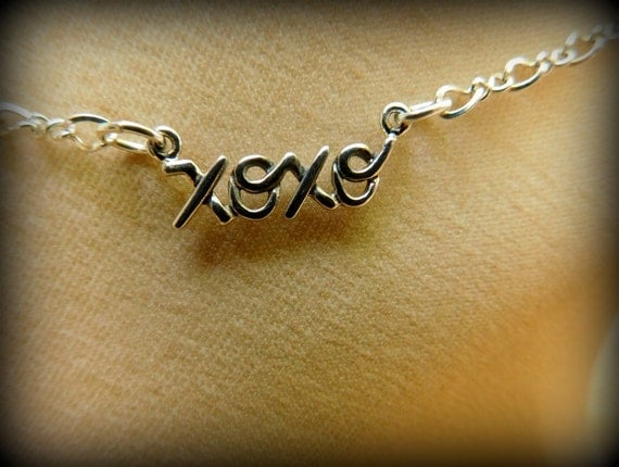 Sterling silver hugs and kisses anklet or necklace / bracelet, love jewelry, XOXO sterling silver anklet, wedding anklet