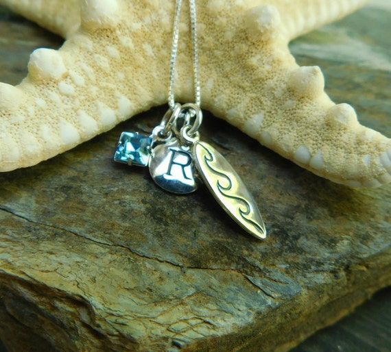Sterling silver surf board necklace, ocean jewelry, swim with the dolphins, wave-maker, surfer jewelry