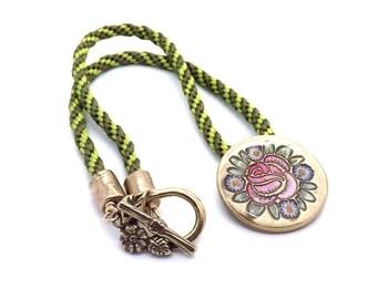 Handcrafted Bronze Folk Art Kumihimo Statement Necklace