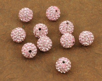 Light Rose Pink Sparkling 10mm Pave Beads - Incredible Sparkle & Lightweight Bead - 5 Beads