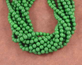 Dark Kelly Green Smooth Glass 10mm Rounds - Vibrant Color, Great Christmas Green - Full 16 inch Strand
