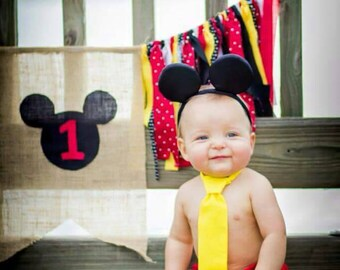 Mickey Mouse tie and diaper cover, Mickey Mouse cake smash outfit, Mickey Mouse first birthday prop