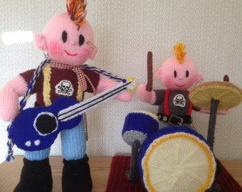The Rock Band Drummer & Guitarist Toy Knitting Pattern