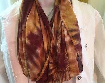 Tye dye scarf, Tie dyed infinity scarf, Hand dyed infinity scarf, Rayon scarf, Fall color infinity scarf, Brown circle scarf