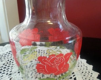 Vintage Anchor Hocking Carafe with Roses