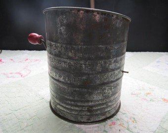 SALE! was 8.00 Bromwell Flour Sifter with Red Wood Handle, Hand Turn Aluminum Flour Sifter, 416S