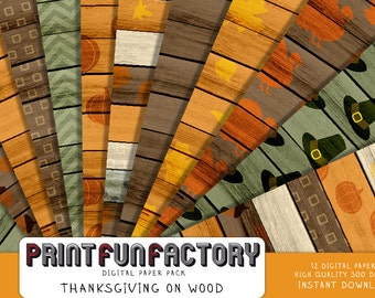 Thanksgiving digital paper - 12 digital Thanksgiving patterns on wood papers (#169) INSTANT DOWNLOAD
