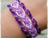 Friendship Bracelet, Macrame, Woven Bracelet, Wristband, Knotted Bracelet, Beach Bracelet  - Shades of Purple