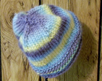 100% Wool Handknitted Child's Hat: Grey, Blue, and Yellow