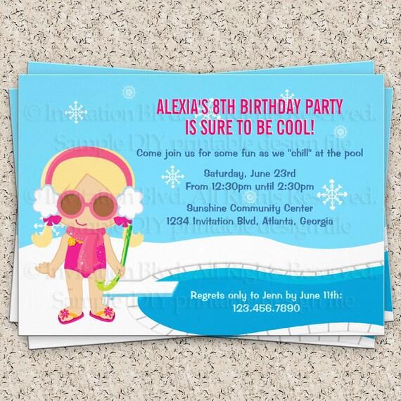 winter pool party invitation girl swim party by invitationblvd
