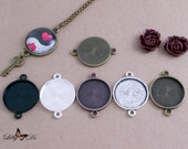 10- 25mm (1inch) Round Connector Trays - 5 Color Choices - Mix-n-Match - Blank Bezel Settings - Photo Jewelry - Findings - Lilly D's