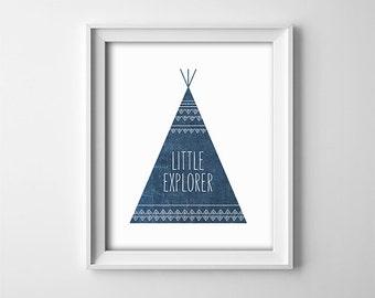 "INSTANT DOWNLOAD 8X10"" printable digital art - ""Little Explorer"" - Teepee Nursery wall art - Navy blue - Baby - child - decor - SKU:567"