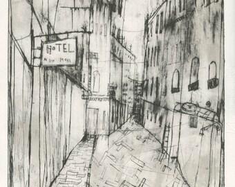 Venice Original Print, San Marco Street Scene, Venetian Hotel, Handmade Art, Italy Wall Decor, Monochrome, Italy Drypoint, Clare Caulfield