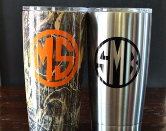 Vinyl Decal for Yeti Tumbler, Colster or Cooler MONOGRAM DECAL
