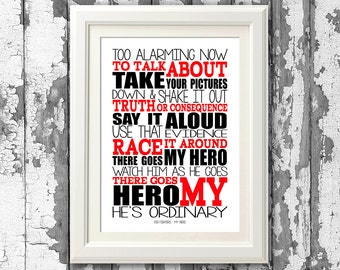 Foo Fighters - My Hero  8x10 Picture Mount & Print Typography Song Lyric Print For Framing (No Frame )