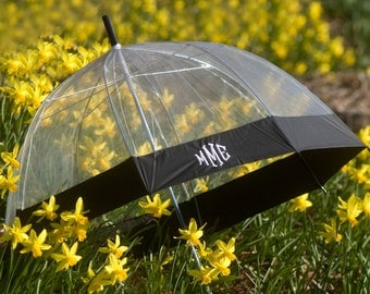 SHIPS FREE! Monogrammed Clear Dome Umbrella with Black Trim